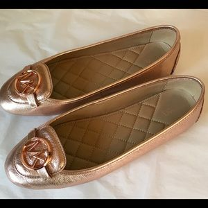 HP❤️Michael Kors MK Metallic Rose Flats Excellent
